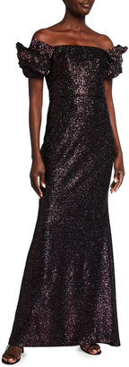 Badgley Mischka Looped Off-the-Shoulder Sequin Gown
