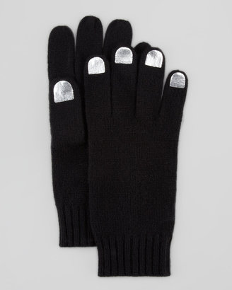 Marc by Marc Jacobs Nail-Polish-Illusion Knit Gloves, Black/Gray