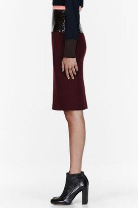 Roksanda Ilincic Burgundy crepe & leather Lamont Skirt