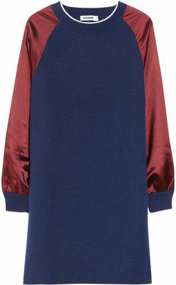Jil Sander Silence appliquéd cashmere and satin sweater dress