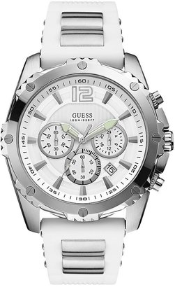GUESS White and Silver-Tone Bold Sport Watch