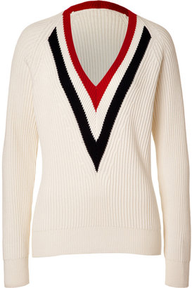Joseph Ecru Wool-Cotton V-Neck Pullover