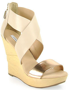 Diane von Furstenberg Opal - Leather Wedge Sandal in Rose Gold and Pumice