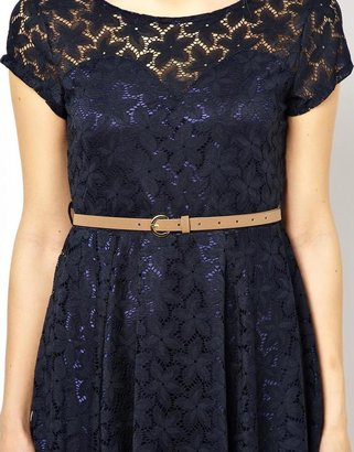 Yumi Lace Skater Dress With Belt