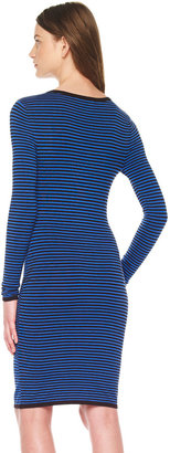 Michael Kors Mix-Stripe Fitted Dress