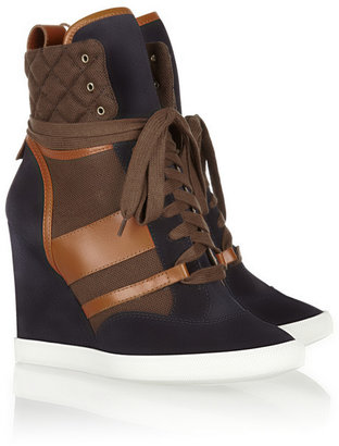 Chloé Suede, leather and canvas wedge sneakers