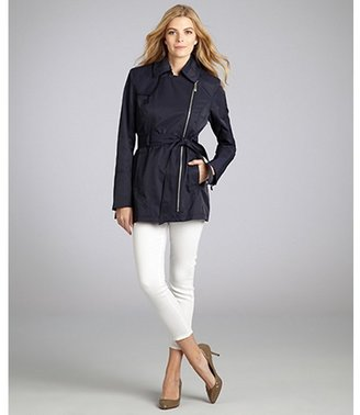 Vince Camuto navy cotton blend belted asymmetric zip trench coat
