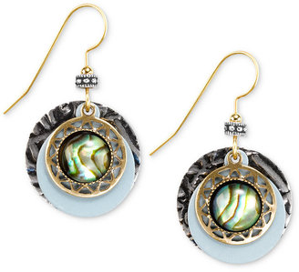 Silver Forest Earrings, Two-Toned Layered Textured Circle Drop Earrings