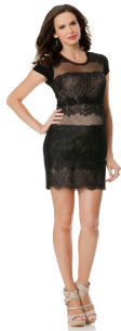 A Pea in the Pod BCBG Short Sleeve Lace Trim Maternity Dress