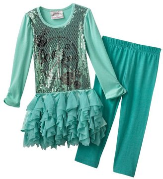 Knitworks sequin chiffon top and leggings set - girls 4-6x