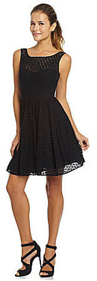 Betsey Johnson Dot-Lace Fit-and-Flare Dress