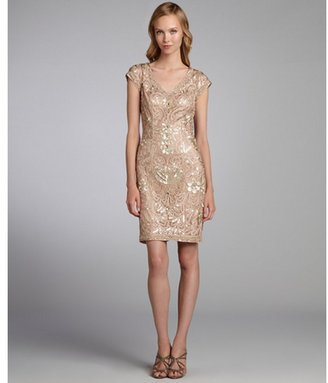 Sue Wong dark beige lace and sequin cap sleeve party dress