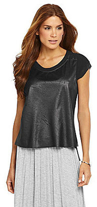 Gibson & Latimer Crinkle Faux-Leather Blouse