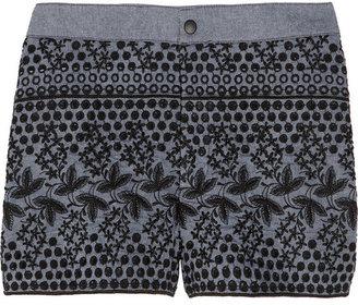Anna Sui Chambray eyelet shorts