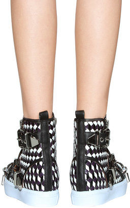 Jeffrey Campbell Adams Studded Sneaker in Black/White/Silver
