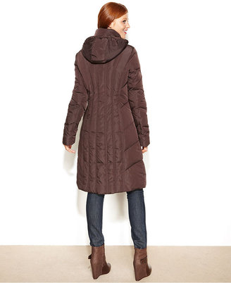 Calvin Klein Hooded Long Quilted Puffer Coat