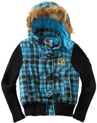 Southpole Girls 7-16 Plaid Jacket With Thick Sweater