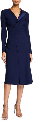 Chiara Boni V-Neck Satin Lapel Flap Skirt Dress