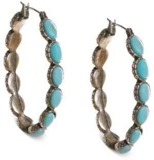 "Lucky Brand Earrings, Reconstituted Turquoise 1-5/8"" Hoop Earrings"