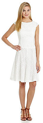 Anne Klein Crochet Fit-and-Flare Dress
