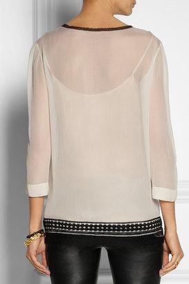 Alberta Ferretti Lace-trimmed silk-chiffon blouse