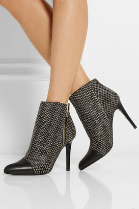 Lanvin Tweed-print calf hair and leather ankle boots