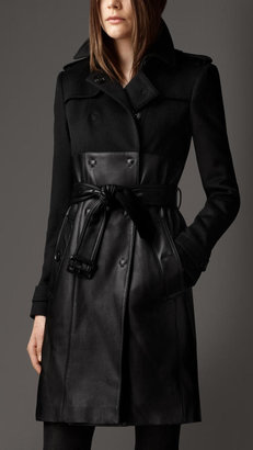 Burberry Long Leather Skirt Trench Coat