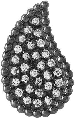 Diane Kordas Teardrop 18-karat blackened gold diamond earrings
