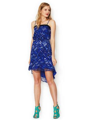 Isabel Lu Silk Chiffon Printed Lace Trim Dress