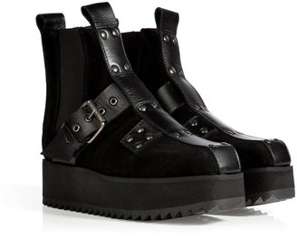 McQ by Alexander McQueen Suede Creeper Boots in Black