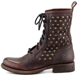 Frye Jenna Disc-Trim Lace-Up Boot, Dark Brown