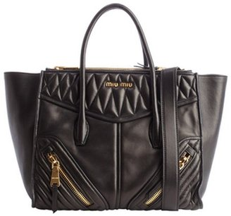 Miu Miu Black Leather Quilted Convertible Top Handle Handbag