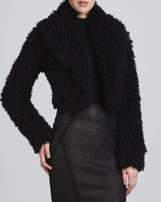 Donna Karan Shredded Faux-Fur Bolero Jacket, Black