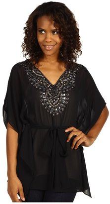 MICHAEL Michael Kors Solid Poly V-Neck Belted Kimono (Silver) - Apparel