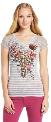 Southpole Juniors Sweet Tee with Stripe Burnout and Flower Graphics