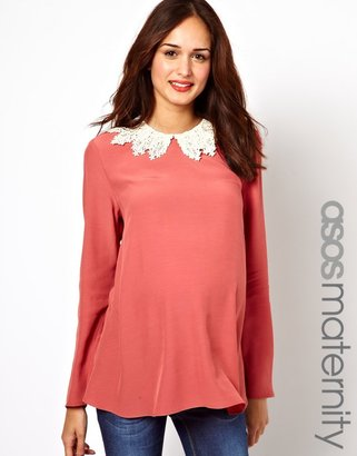 Asos Swing Blouse With Crochet Collar