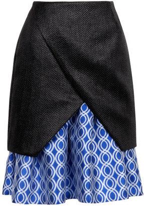 Preorder Ostwald Helgason Raffia Weave Diagonal Pleat Skirt With Geo Circles Hem