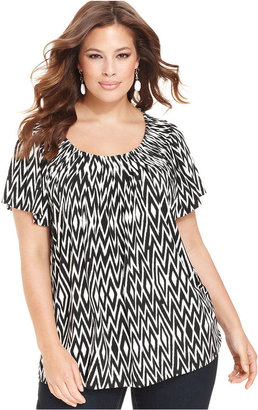 Style&Co. Plus Size Top, Short-Sleeve Printed Pleated