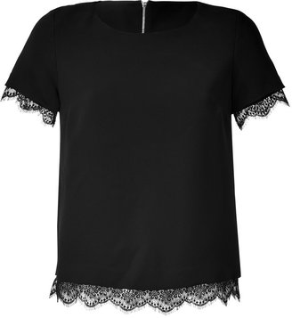 Sandro Black Lace Trimmed Top