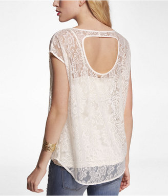 Express Lace Cut-Out Back Hi-Lo Hem Top