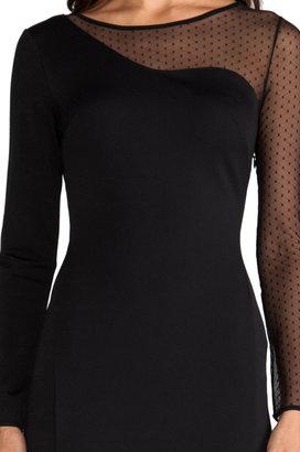 Halston Ponte Sheath Dress with Mesh Contrast