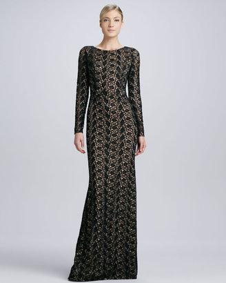 Carmen Marc Valvo Lace Gown with Jewel Neckline