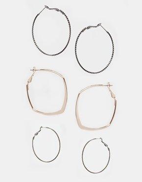Asos Mix Hoop Earrings Multipack - Multi