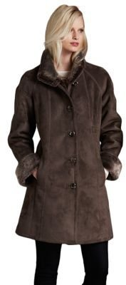 Portrait Faux Shearling Walker Coat