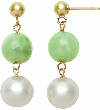 FINE JEWELRY 14K Yellow Gold Cultured Freshwater Pearl & Dyed Green Jade Drop Earrings