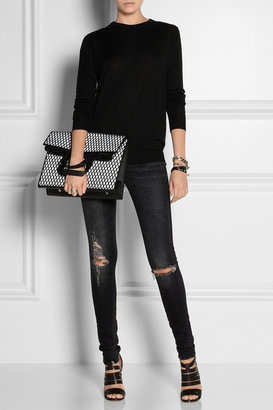 R 13 Distressed low-rise skinny jeans