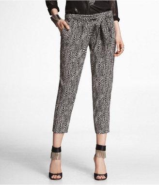 Express Printed Soft Cropped Belted Pant