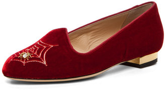 Charlotte Olympia Charlotte's Web Smoking Slipper with Crystal Detailing in Red