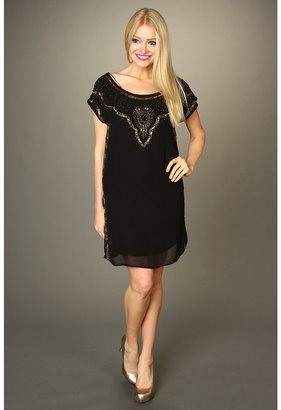 Lucky Brand Good Fortune Embellished Dress (Black Multi) - Apparel
