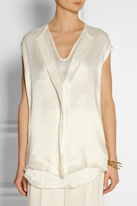 Lanvin Draped satin-organza top